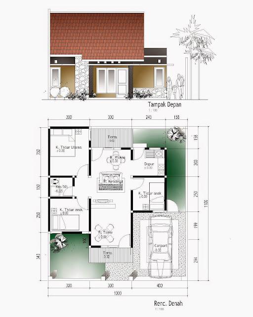 Contoh Denah Rumah Minimalis Sederhana Type 45