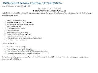 Lowongan Satpam Wanita institut Teknologi Nasional Malang