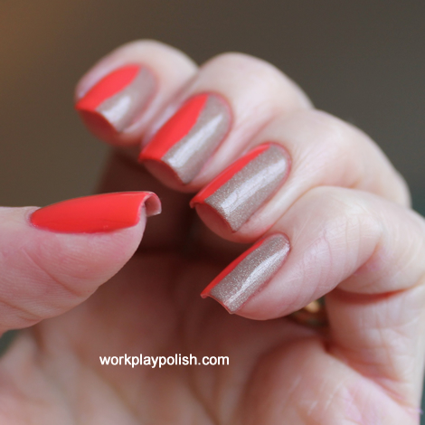 Coral and Taupe Tape Mani
