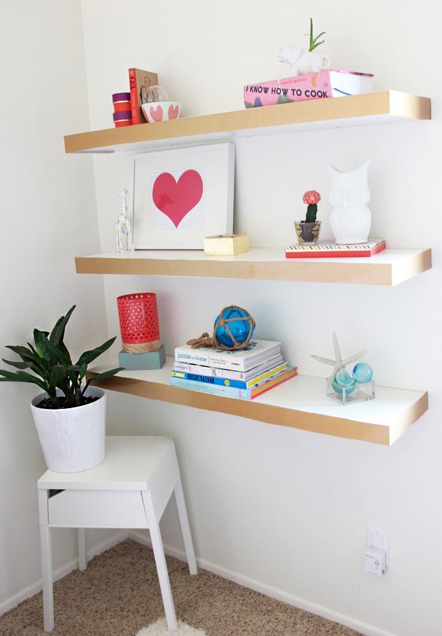 a bubbly life diy ikea hack floating shelves color block. Black Bedroom Furniture Sets. Home Design Ideas