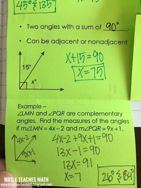 Angle Pair Relationships Interactive Notebook Page  - Adjacent, Vertical, Complementary, and Supplementary Angles