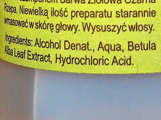 Barwa - Woda brzozowa - Preparat do włosów z łupieżem, skład