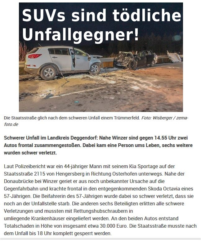 SUVs sind gefährliche Unfallgegner