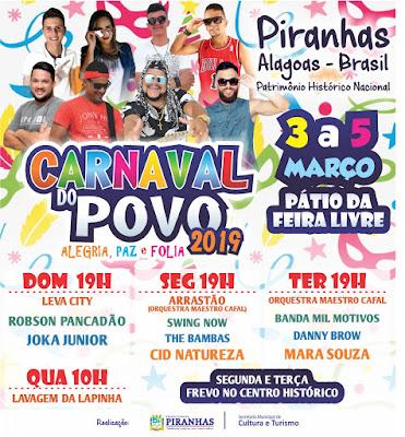Em Piranhas, confira a  programação oficial do Carnaval do Povo divulgada  pela Prefeitura