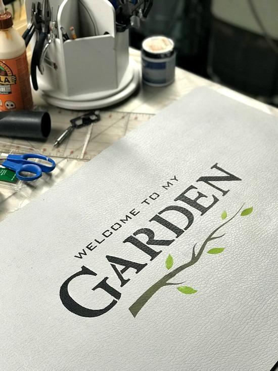 garden stencil on white mat