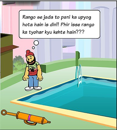 holi images in cartoon