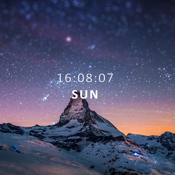 Mountain and Digital Clock Wallpaper Engine