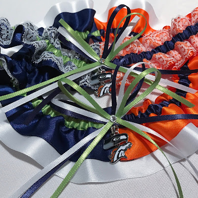 Seattle Seahawks vs Denver Broncos House Divided Wedding Garter Set by Sugarplum Garters