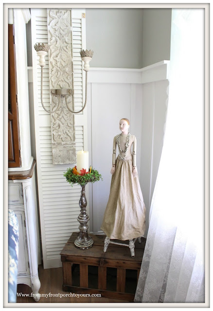 French Farmhouse Style Fall Dining Room-Santos Cage Doll-French Sconce-From My Front Porch To Yours