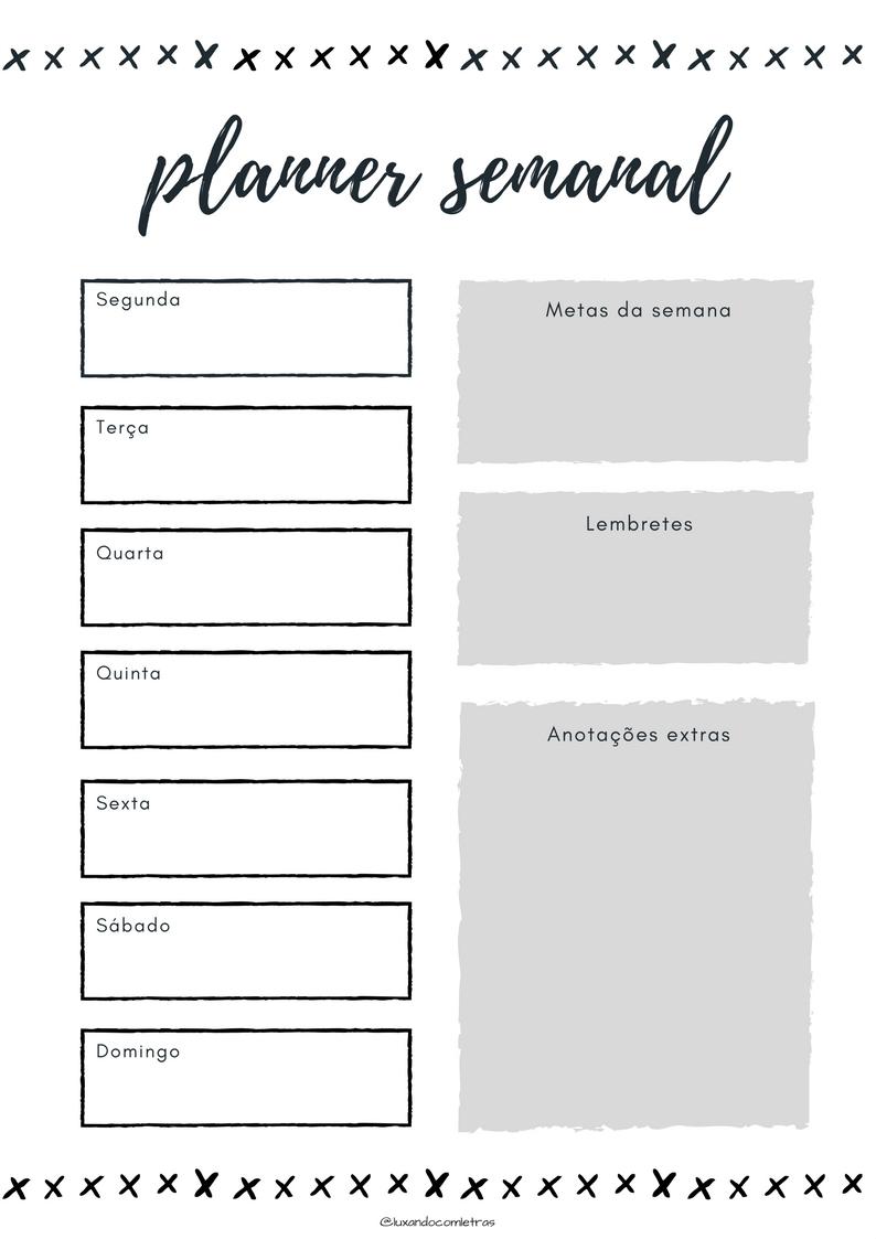 luxando com letras planner semanal download gratuito. Black Bedroom Furniture Sets. Home Design Ideas