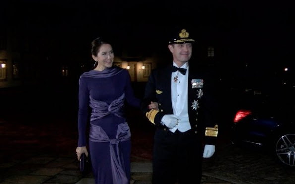 Rear Admiral of the Navy, Crown Prince Frederik and Crown Princess Mary of Denmark attended the gala dinner
