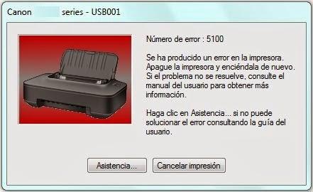 Como eliminar el error 5100 en impresoras Canon con sistema de tinta