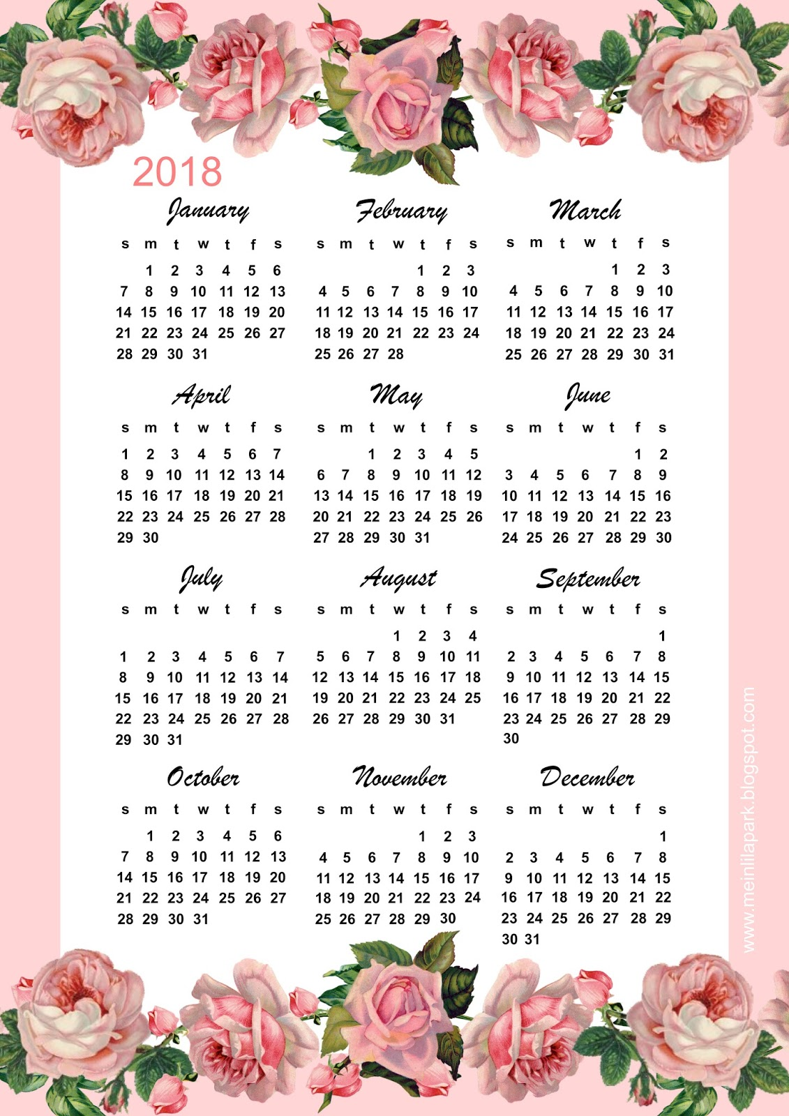 free download printable calendar 2018 2 months per page 6 pages
