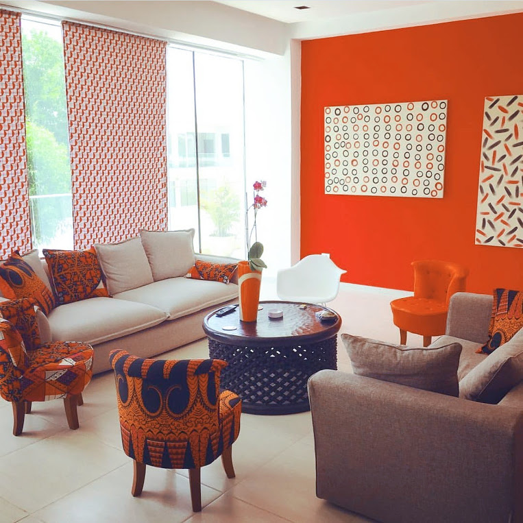 The afrofusion spot interior design african print living for Living room designs in ghana