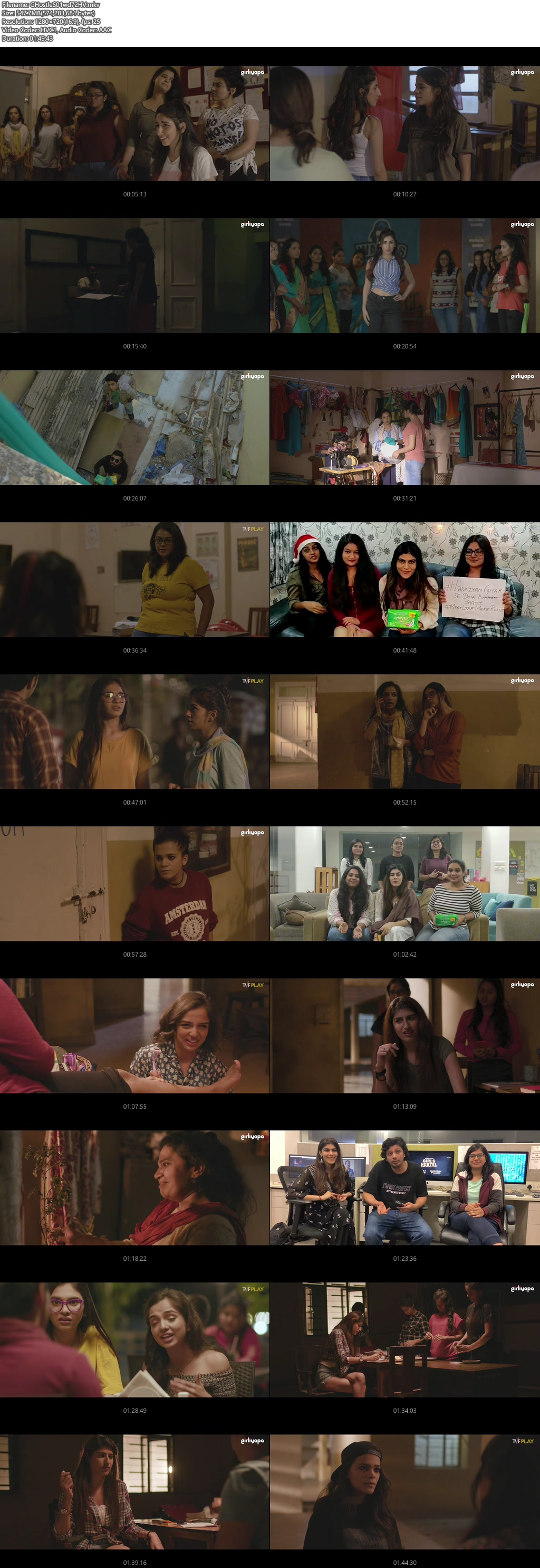 Screenshots Of Hindi Show Girls Hostel Season 01 2019 Complete - All Episodes 300MB 720P HEVC HD
