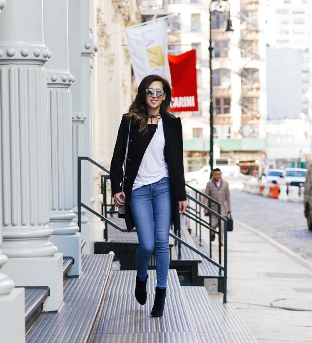 Walking in Soho for full length OOTD, Military pea coat, crossbody bag, skinny jeans, velvet booties