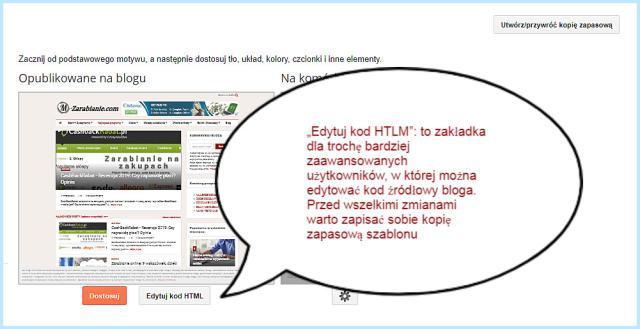 Edytowanie kodu HTLM na Bloggerze.