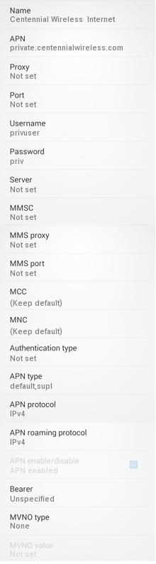 Centennial Wireless APN Settings for Android