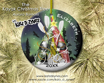 The Kayak Christmas Tree Aurora Borealis tree ornament