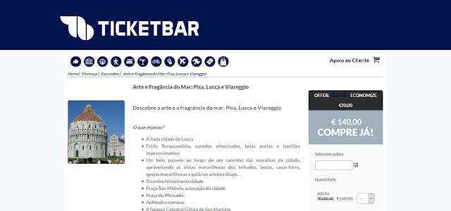 Ticketbar para ingressos para uma ida a Pisa, Lucca e Viareggio