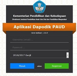 Tampilan Baru Aplikasi Dapodik PAUD Versi 3.0.0 Tahun 2016