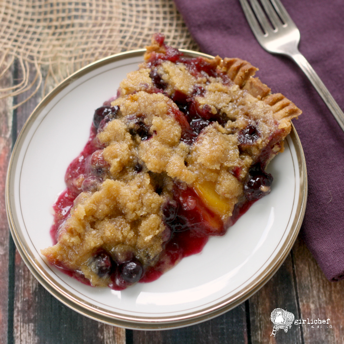 Blueberry Peach Pie w/ Cornmeal Streusel and Crust