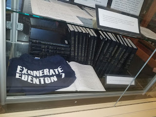 """Exonerate Edenton Seven"" t-shirt from Little Rascals collection and display. Donated by Lew Powell."