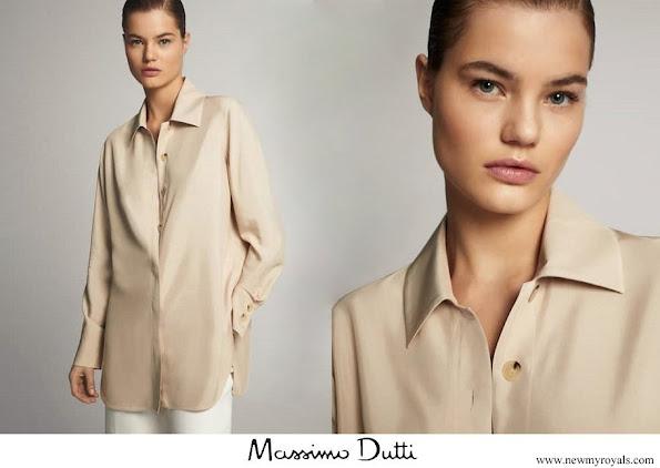 Queen Maxima wore Massimo Dutti Blouse