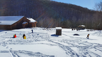 Sledders and cross country skiers at PA Lumber Museum in 2018
