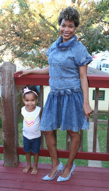 denim top, denim skirt, denim shoes