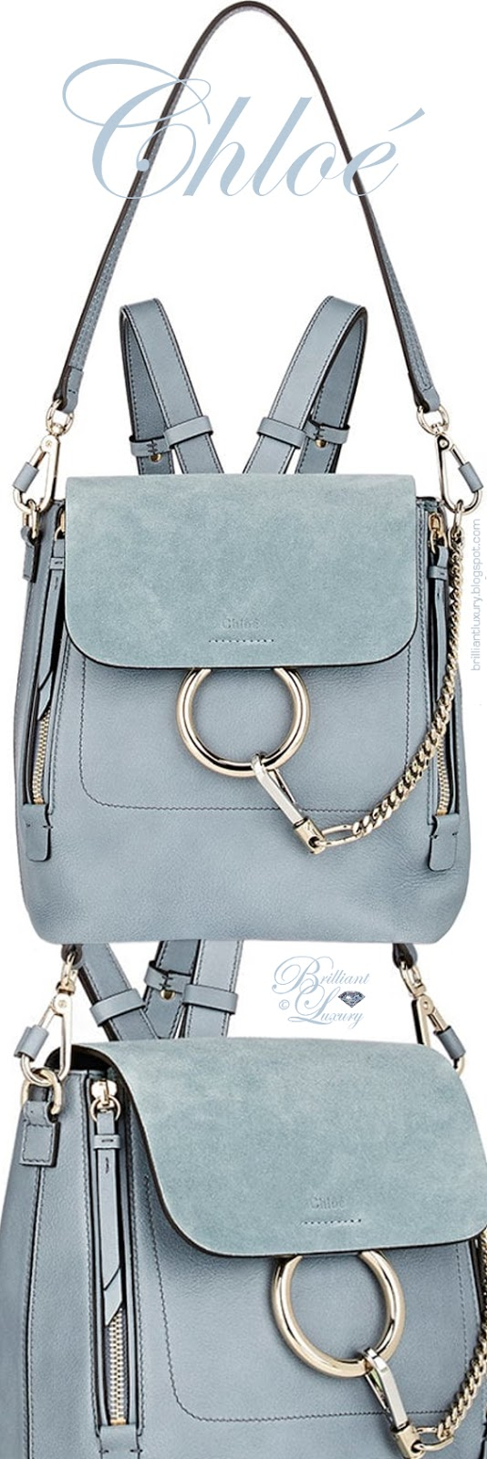Brilliant Luxury ♦ Chloé Faye small blue backpack bag