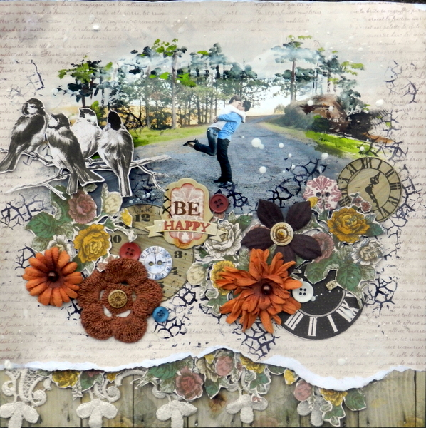 Be Happy layout by Solange Marques featuring BoBunny Provence collection and Rough it up Stamp.