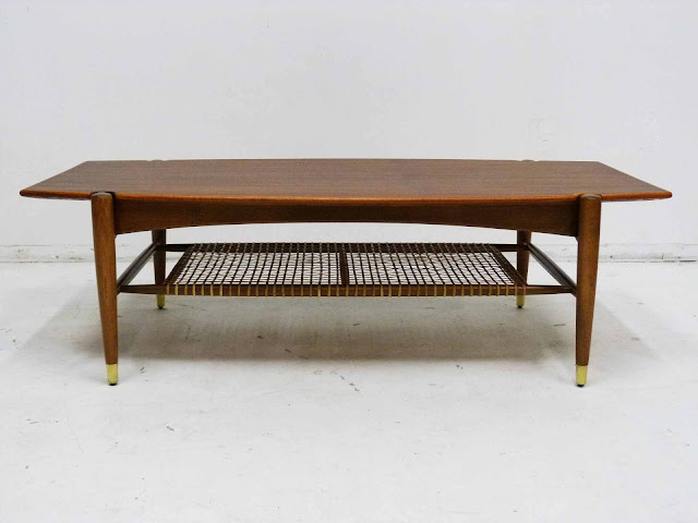Dux Teak Walnut Cane Shelf Surfboard Coffee Table Front