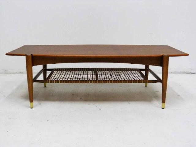 Dux Teak Walnut Cane Shelf Surfboard Coffee Table Front