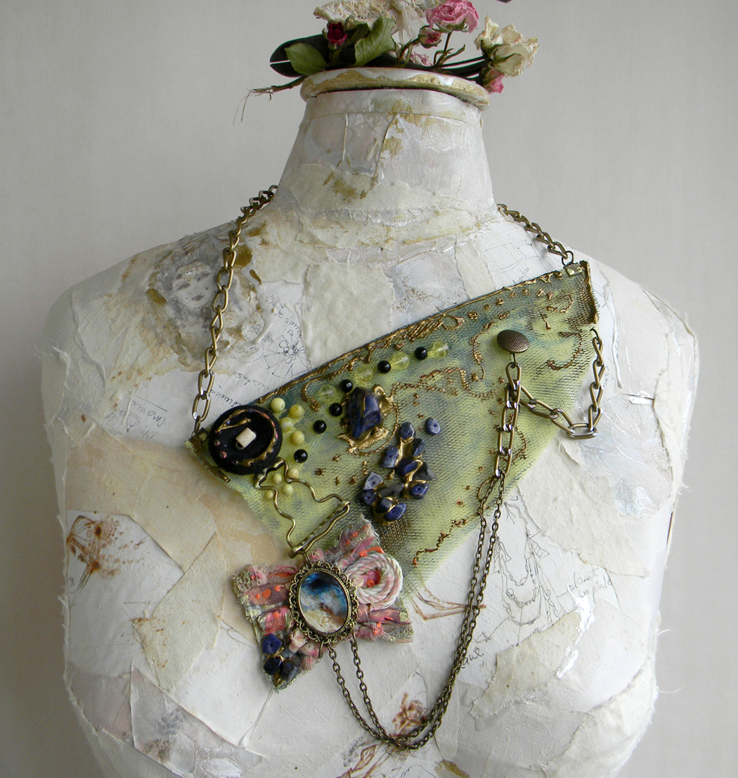 Unique Handmade Fashion Bib Necklace Steampunk Abstract Jewelry