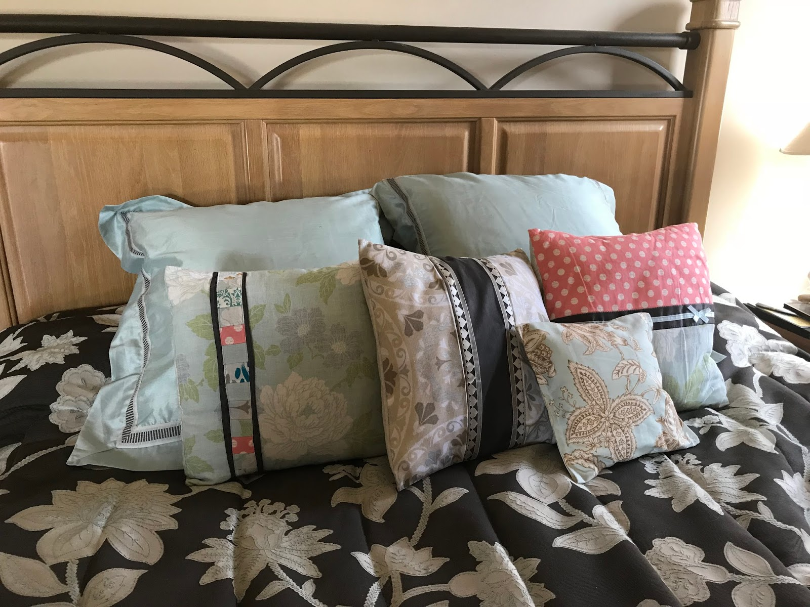 Straddling the Gap Upcycling Goodwill Challenge Pillows