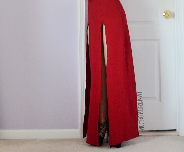 A bold, sexy formal outfit featuring the red cutout double slit Nightwalker Shera maxi dress dupe from SheIn, paired with black platform heels and silver jewelry.