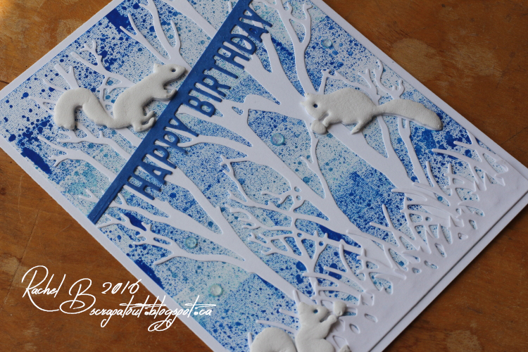 Scrapatout - Handmade card, Happy Birthday, Impression Obsession, Forest, Squirrels