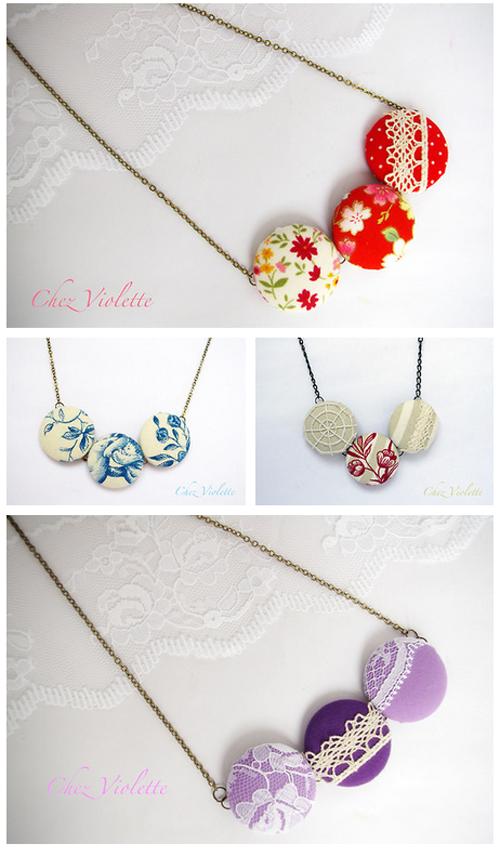 colliers boutons en tissu romantique avec dentelle ancienne de Chez Violette