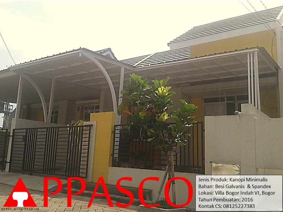 Kanopi Minimalis Modern Atap Spandex di Villa Bogor Indah