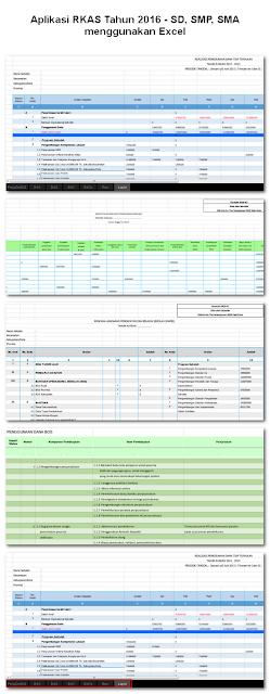 Aplikasi RKAS Tahun 2016 - SD, SMP, SMA menggunakan Excel