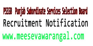 PSSSB (Punjab Subordinate Services Selection Board) Recruitment Notification