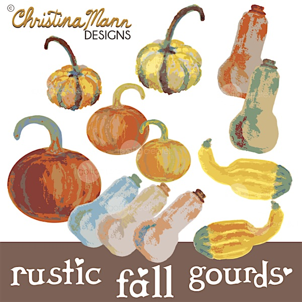 Pumpkins, gourds and squash digital clip art by Christina Mann Designs / I Gotta Create!