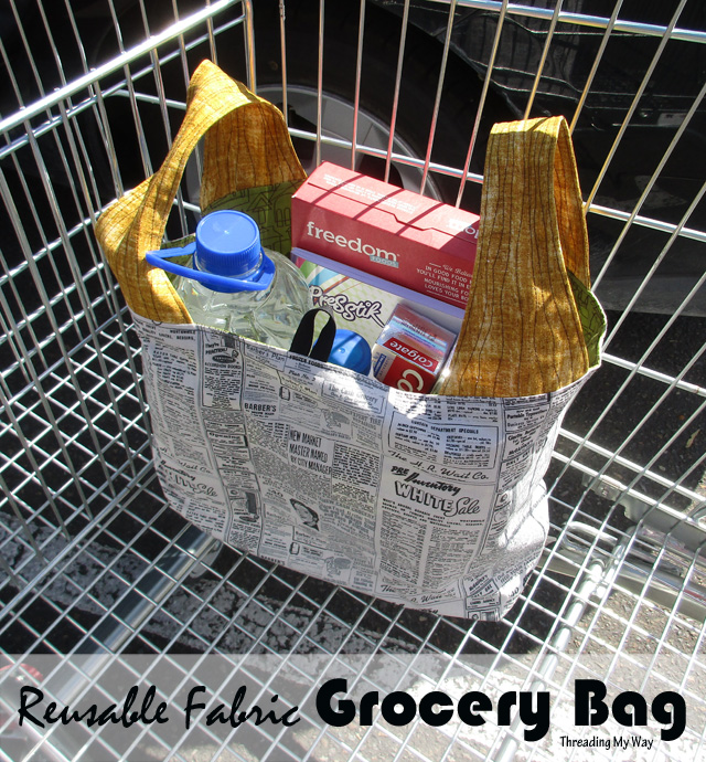 Reusable Fabric Grocery Bag sewn with a pattern by Michelle's Patterns. Review by Threading My Way
