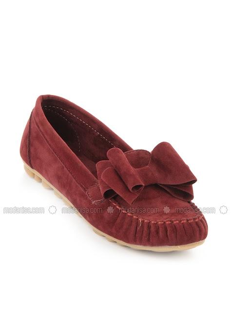 Bordo bambi ayakkabı