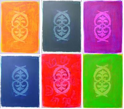 Farbflächenmalerei, Sechser-Serie mit Symbol, abstrakte Malerei
