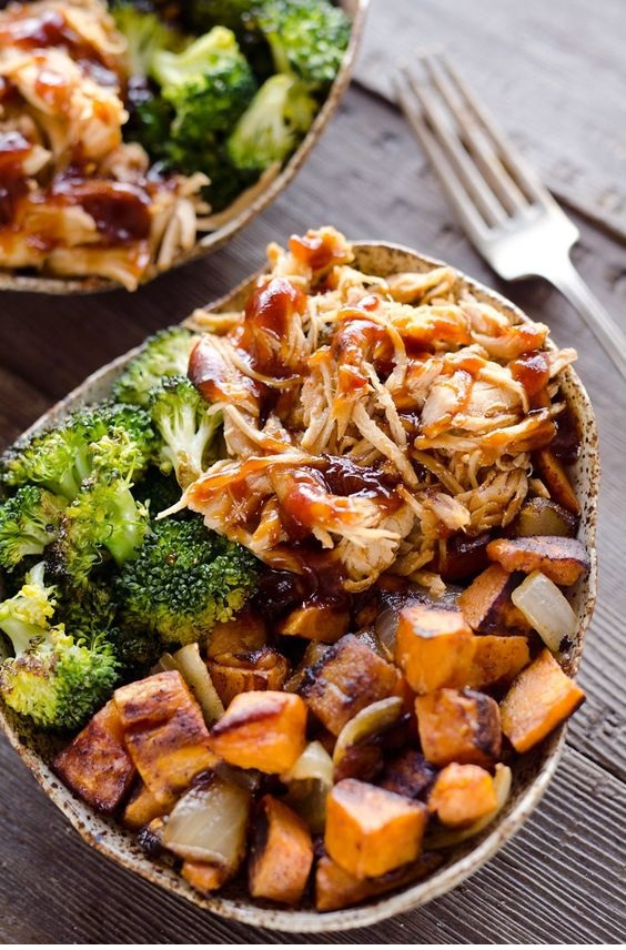 BBQ Chicken & Roasted Sweet Potato Bowls