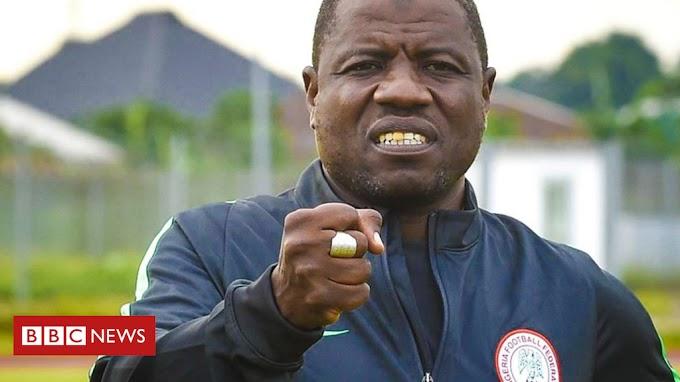 Nigerian football coach Salisu Yusuf filmed taking cash