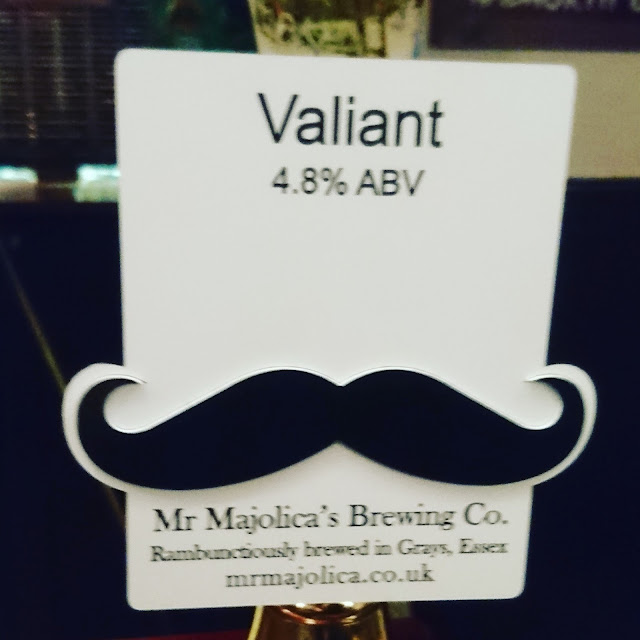 Essex Craft Beer Review: Valiant from Mr. Majolica's Brewing Co. real ale pump clip