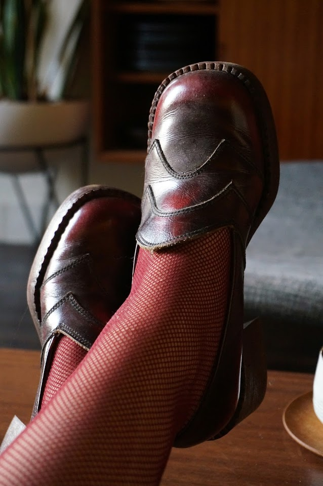 1970s chunky loafers burgundy 70s